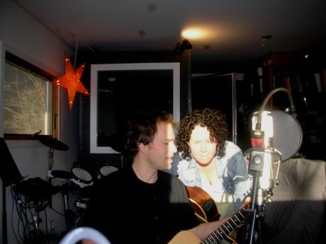 Ben and Brenda writing in the studio