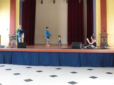 Penn Kemp, Ruth Douthwright, Lilly, Brenda rehearsing for Aug. 15 performance