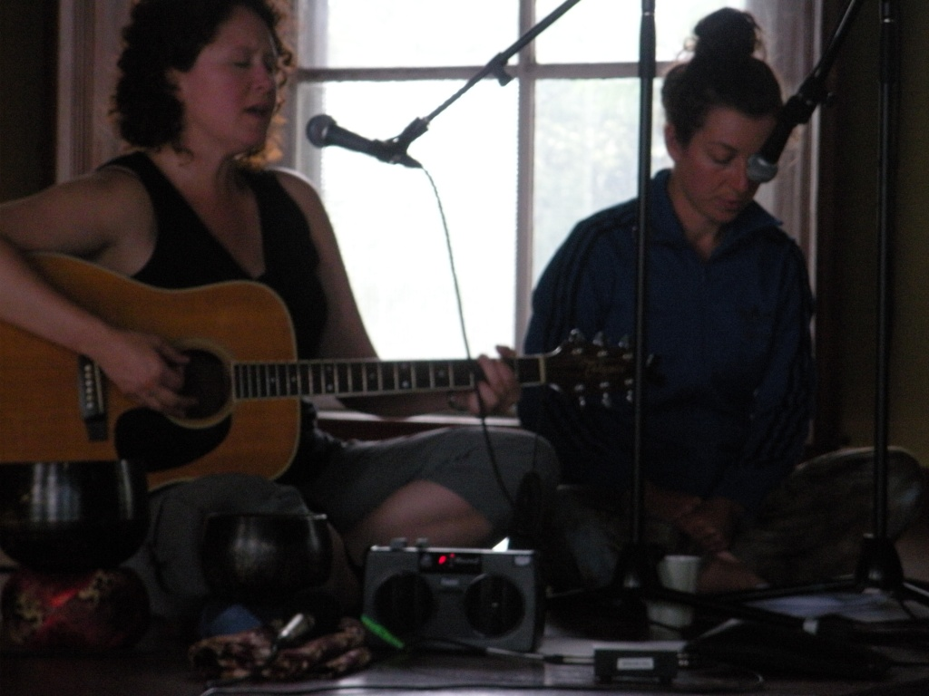 Brenda and Ruth Douthwright rehearsing for Re:Vision w/ Penn Kemp