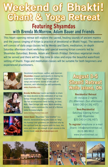 Weekend of Bhakti with Shyamdas, Brenda McMorrow, Adam Bauer and Friends